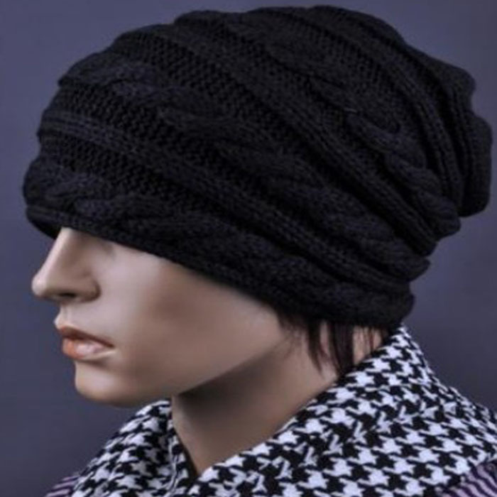 2015 Hot Sale Women Men Hat Unisex Winter Warmer Crochet Braided Cable Knit Baggy Beanie Slouch Hat Cap Black Wholesale
