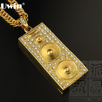 2015 sound box altoparlante oro pendente di fascino collana lunga catena hiphop rock dance accessorio dei monili regali