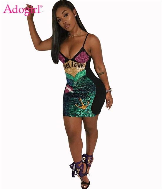 Adogirl 2018 New Sequins Mermaid Love Spaghetti Straps Dress Sexy Deep V  Neck Bandage Mini Dresses Night Club Wear Costumes 0ec14ad40a67