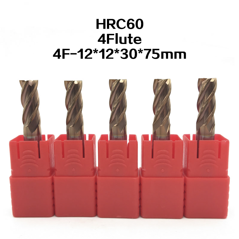 5Pcs 4F-D12*75L hrc60 carbide End Mills tungsten Carbide Square Flatted End Mill 4 Flute Cutting diameter 12mm Milling Cutter halco rellik doc 7 75 12 2 5 f