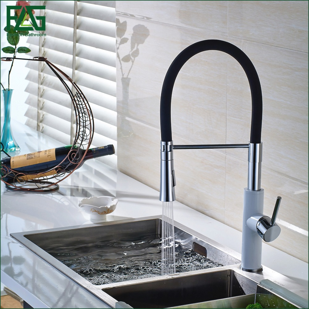 FLG English Style Kitchen Faucet White & Chrome All Around Rotate Swivel 2-Function Water Outlet Pull Out Sink Mixer Tap C043