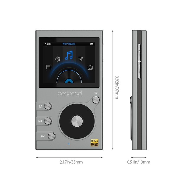 Dodocool 8GB Hi-Fi Music Player High Resolution Audio Digital Lossless Sound MP3 Player with Voice Recorder and FM Radio