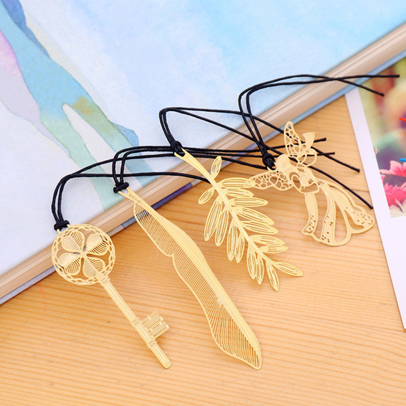 1pc Creative Silver Gold Color Metal Feather Bookmark Chinese Style Vintage Marker Nice Cool Book Markers School Supplies