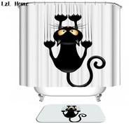 Bath Curtain For Bathroom Custom Funny Christmas Shower Curtain 3d Modern Creative Cat Waterproof Fabric Hooks