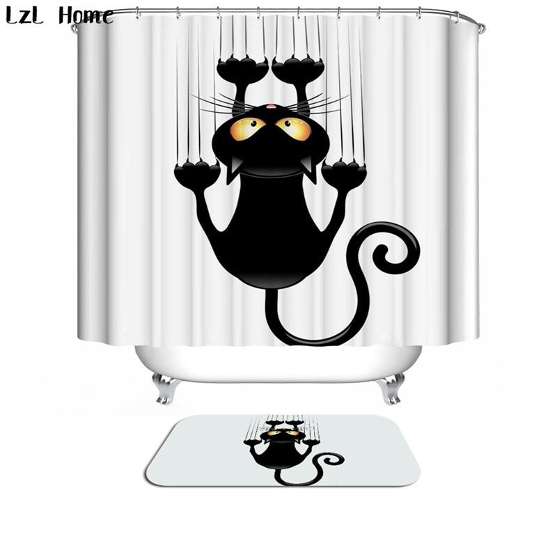 Bath Curtain For Bathroom Custom Funny Christmas Shower Curtain 3d Modern Creative Cat Waterproof Fabric Hooks Home Decoration