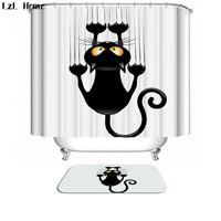 Bath Curtain For Bathroom Custom Funny Christmas Shower Curtain 3d Modern Creative Cat Waterproof Fabric Hooks