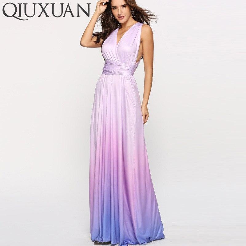 7885627b3f2 QIUXUAN Ombre Tie Dye High Waist Maxi Dress Summer Fashion Cross Back  Sleeveless Wrap Dress Ruched Waist Women Party Dress-in Dresses from  Women s Clothing ...