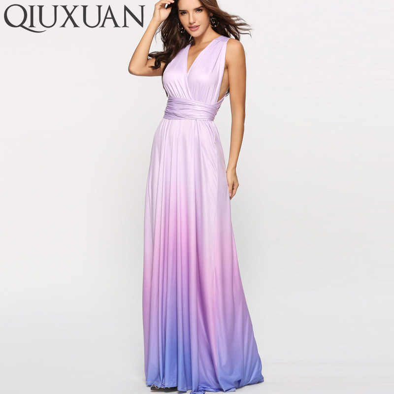 847bb1d5879f2 QIUXUAN Ombre Tie Dye High Waist Maxi Dress Summer Fashion Cross Back  Sleeveless Wrap Dress Ruched Waist Women Party Dress