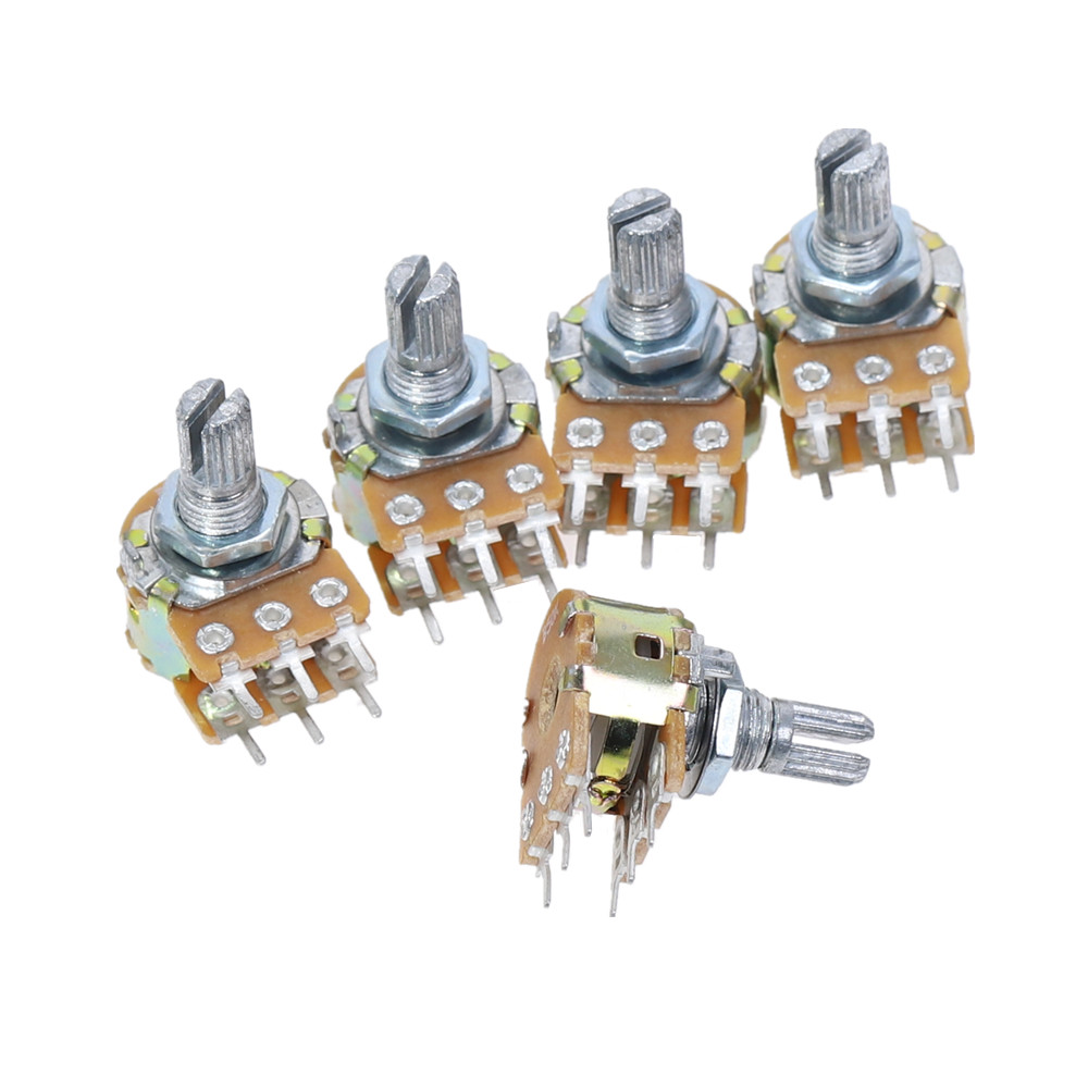 Three 50 0hm Wirewound 5 wtt Potentiometers 6 mm dia splined spindle, Sturdy