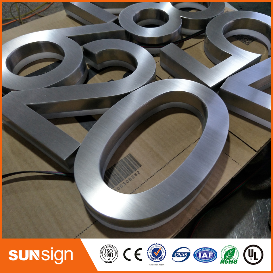 Outdoor 3D LED Signs Backlit Brushed Stainless Steel Letters
