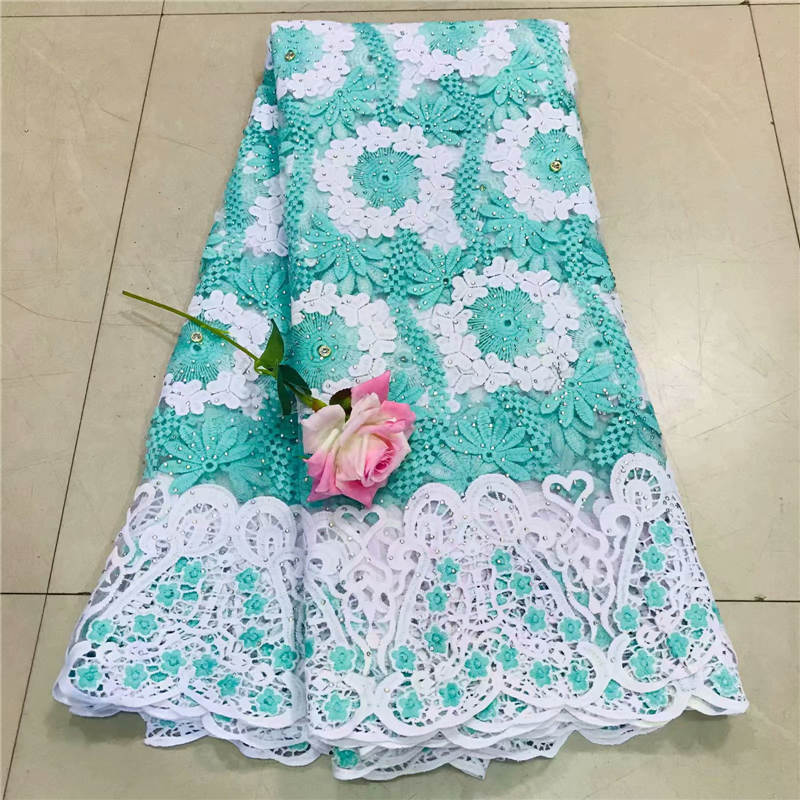 ZQJ!African Lace Fabric 2018 High Quality Lace 3D Flower Lace Fabric Beautiful Applique Stones Lace For Nigerian Wedding! P50608
