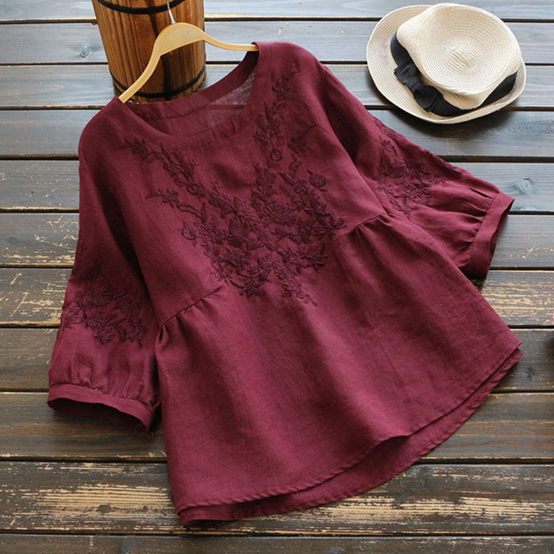 Blouse   Women Plus size Tunic Cotton Embroidery   Blouse     Shirts   Ladies Tops O neck Casual