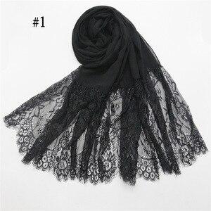 Image 5 - Podwójne krawędzi koronki kwiatowy szyfonu Maxi hidżab muzułmańska chusta pani zwykły szal Warps szalik na głowę emiraty kobiet Turba osłona na szyję
