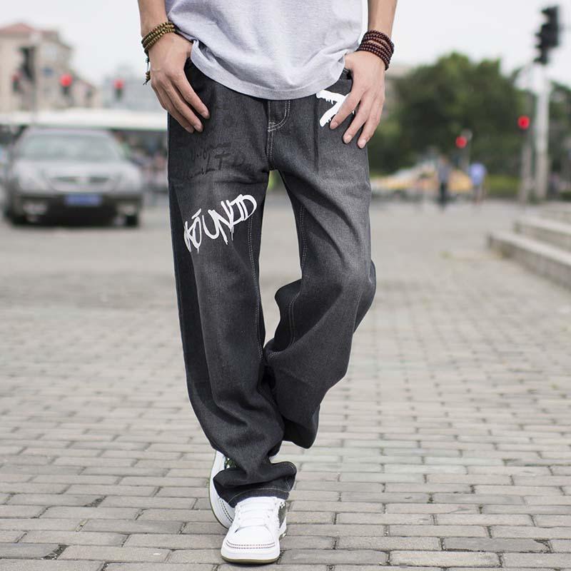 Mens Loose Straight Leg Jeans Hip Hop Baggy Black Jeans Men s Fashion Print  Autumn Winter Pants Plus Size 38 40 42 44 46 b059dfa58d4d