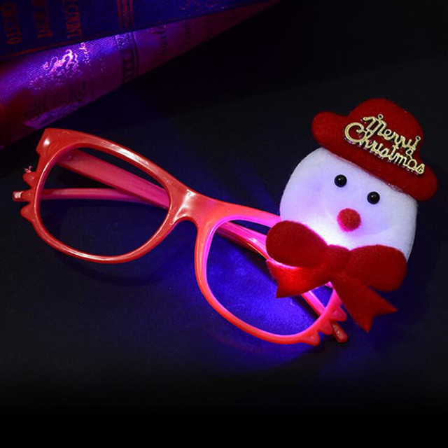 Christmas Led Light Up Eye Glasses Frame Flashing Eyewear Kids Gift