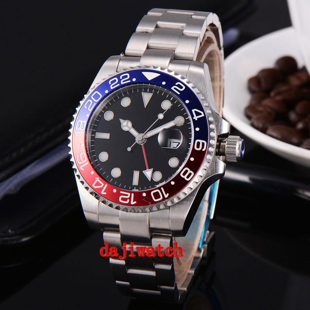 parnis 43mm black dial stainless steel case Sapphire glass calendar GMT mechanical automatic watch men sensas 3000 method strawberry
