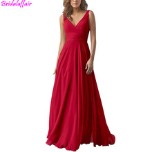 V Neck Elegant Long Red Chiffon Evening Dress Sexy Open Back Vestido De Festa Gowns