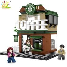 283Pcs Starbucks Coffee Shop Model Building Blocks Street View Shop Manager Figures Compatible Legoed City Educational Toys Kids