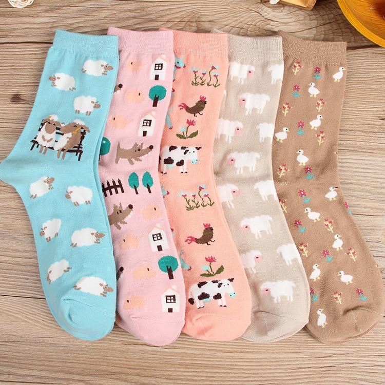 Lamb Cartoon Animal Women Socks Cotton Funny Ankle  Socks Pink Cow Kawaii Cute Casual Dog Duck Harajuku Comfortable Creative New
