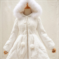 新しい女性のフード付き冬のパーカー甘い黒/白スタージャガード暖かい冬コートで挿入ポケッ