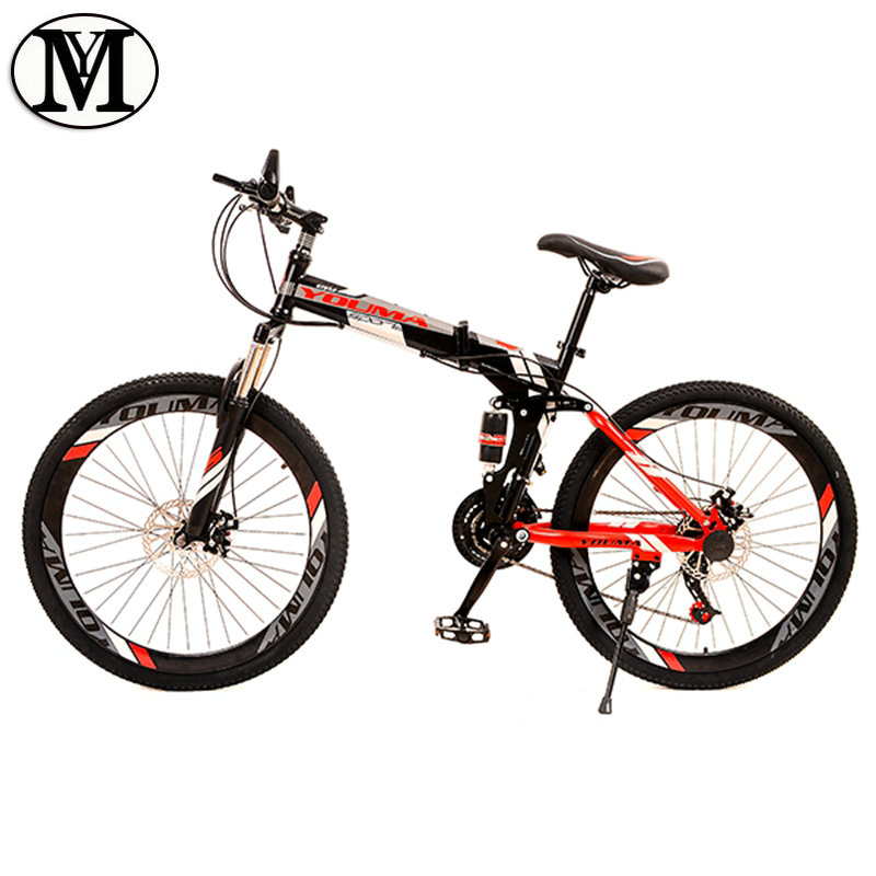 Mountain bike 24 speed 26 inch Folding Road Bicycle YM  brand Spring Fork Front and Rear Mechanical Disc Brake bicycle