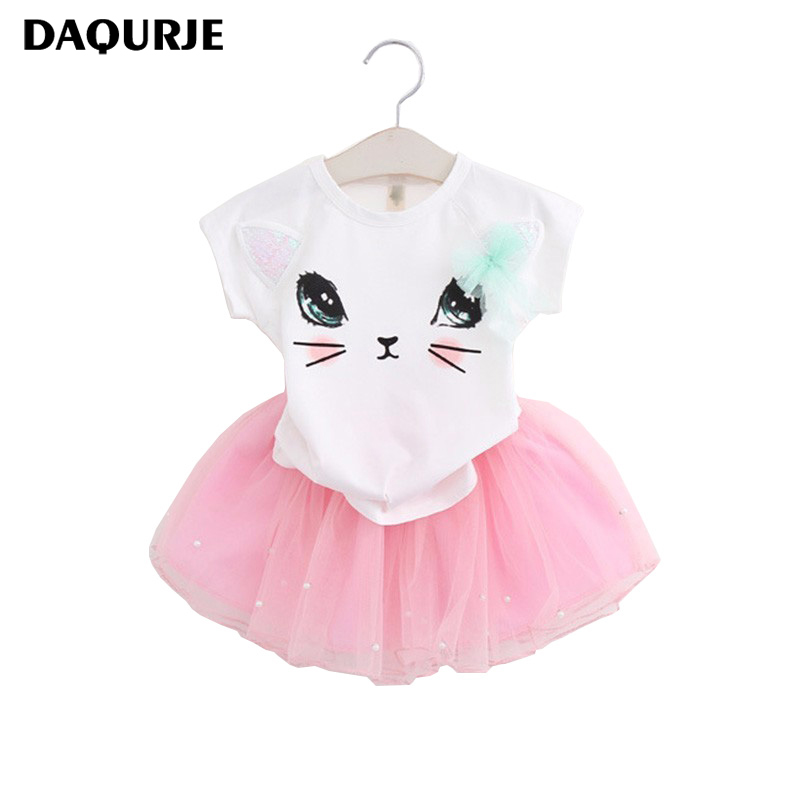 New 2018 Summer Girls Dress Clothing Sets Fashion Cotton Short Sleeve T-shirt+Organza Skirts Children Kids Girl Clothes 2pcs Set 2018 new fashion summer girls children clothing sets sleeveless t shirt red tank top vest skirts 2psc girls clothes suits