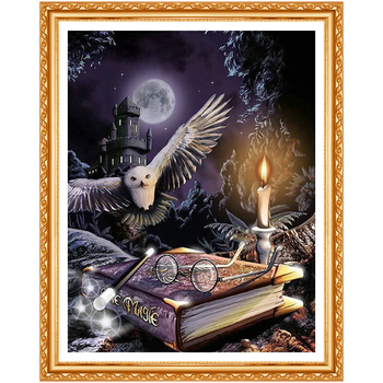 5D Diy Diamond painting Cross stitch Owl animal Diamond embroidery Magic book Full round Dimond