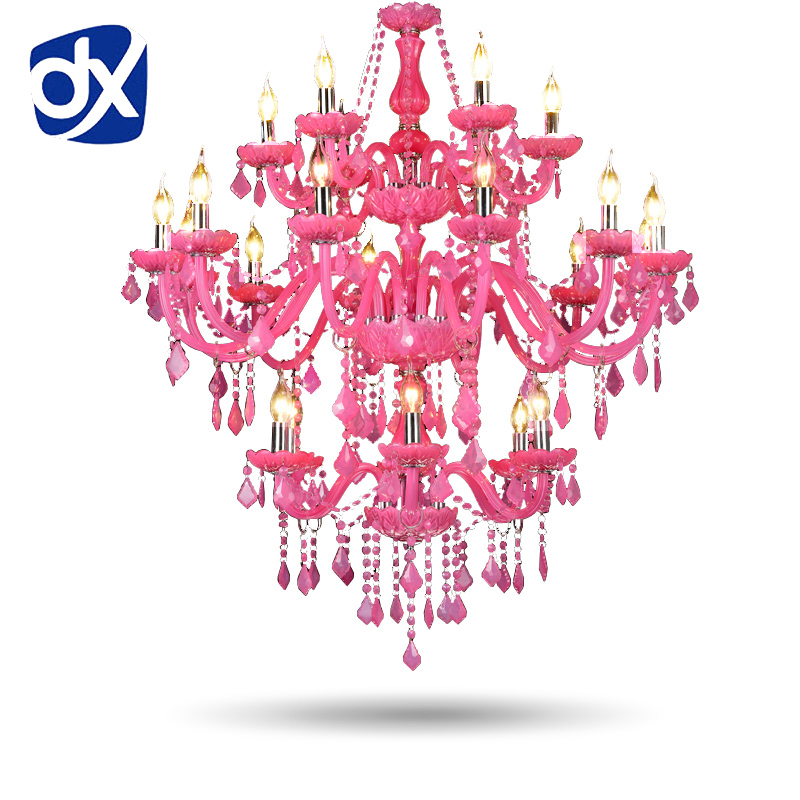 Pink Crystal Chandelier Lustre Crystal Chandelier 6+12+6 Arms Lustres De Cristal Chandelier Hotel Lobby Lamp Without Lampshade