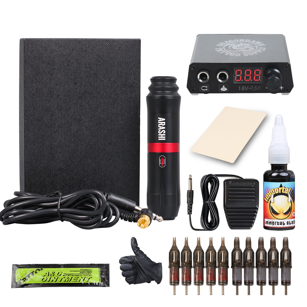 Complete Tattoo Kit Tattoo Rotary Pen With Cartridges Needles Tattoo Machine Gun Professional Power Tattoo SuppliesComplete Tattoo Kit Tattoo Rotary Pen With Cartridges Needles Tattoo Machine Gun Professional Power Tattoo Supplies