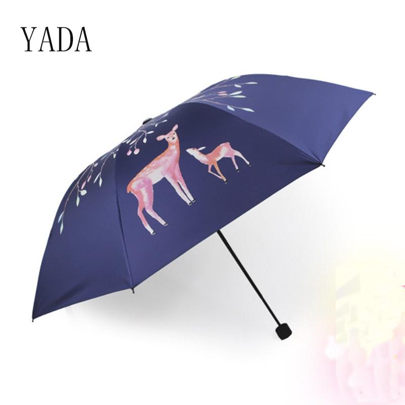 YADA Forest Fawn Rain Women uv Three Folding Umbrella For Womens Custom Personalized Charms Windproof Friendship YS050