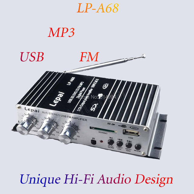 US $15 39 |USB / FM amplifier A68USB small amplifier music camp 12V  motorcycle small amplifier, car amplifier,USB/AUX/SD/MMC,PCB panel-in  Stereo