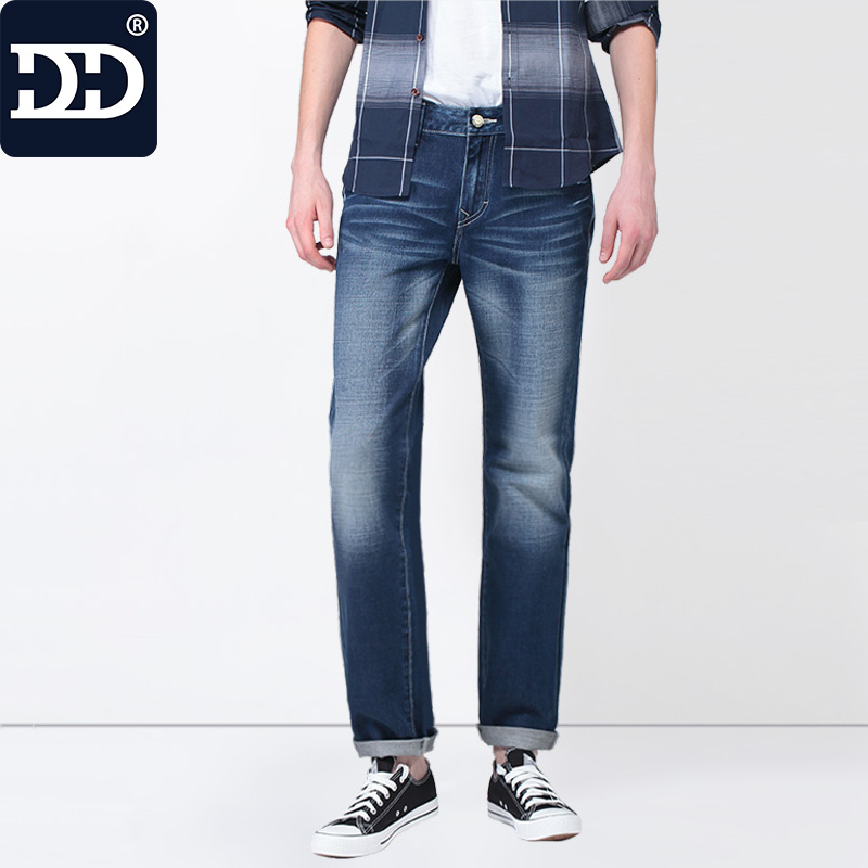 все цены на  Sep.30th App 60% OFF  New Slim Fit Casual Pants Deep Blue Jeans Men Stretch Chinese Famous Brand  Men Pants Best Jeans For Men  онлайн