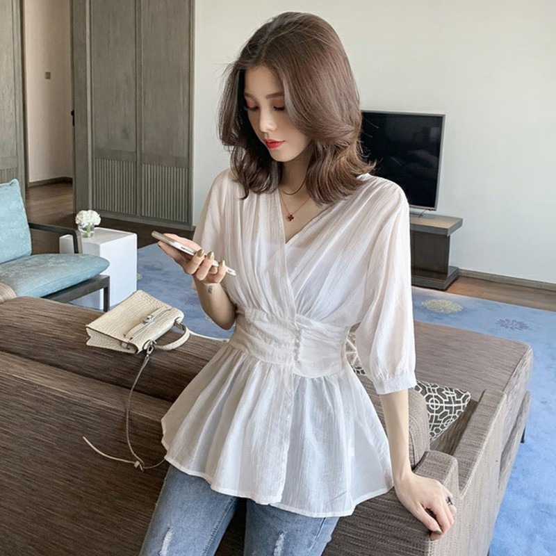 Women Solid Slim Waist Short Sleeve Chiffon   Blouse   Women Casual V-Neck   Blouses     Shirts   2019 New Fashion Chic   Shirts   Tops