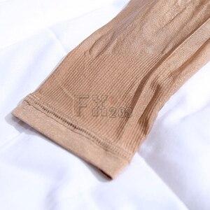 Image 5 - جوارب طويلة ضيقة مثيرة بفتحة رقبة منخفضة لامعة ومزينة بالزيت مناسبة للرقص والفخذ