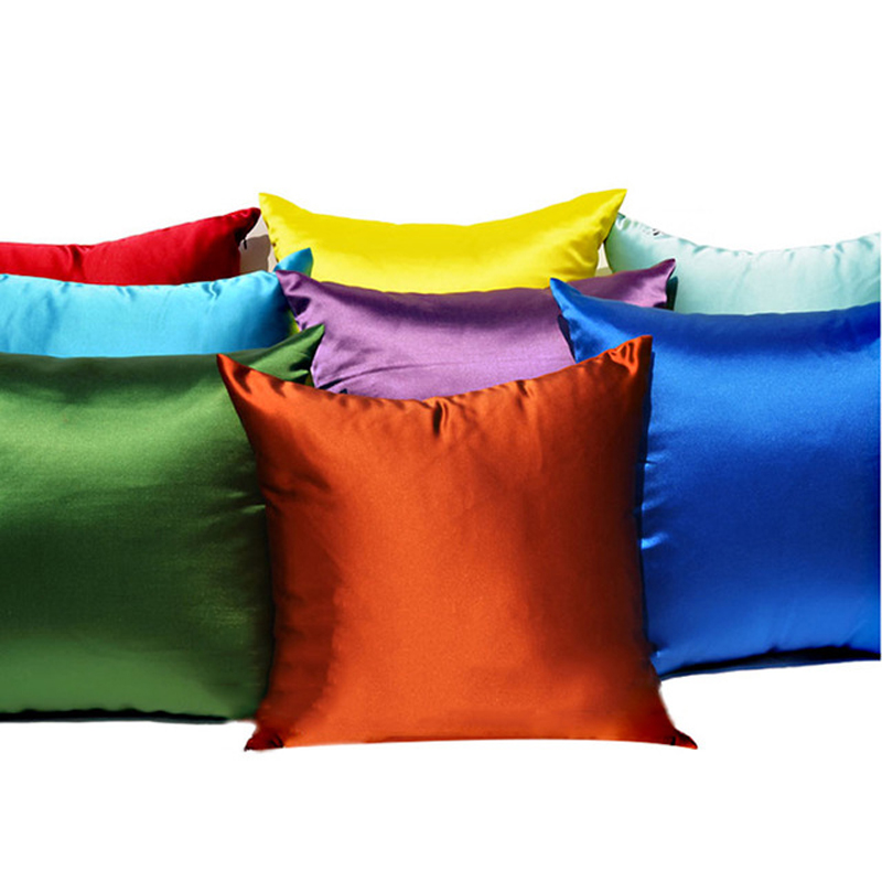 Super soft satin fabric sofa cushion cover decorative throw <font><b>pillow</b></font> <font><b>case</b></font> cover <font><b>30x50</b></font>/40x40/45x45/50x50/60x60cm image