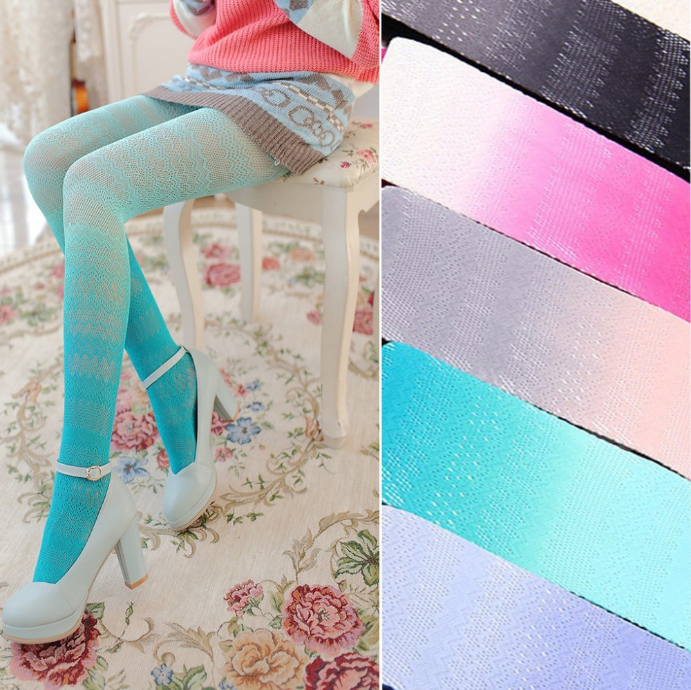 2017 Fashion Japanese Lace Lolita pantyhose Sexy Lady Women Fishnet Tights Kawaii Gradient Color Pantyhose Factory Outlet