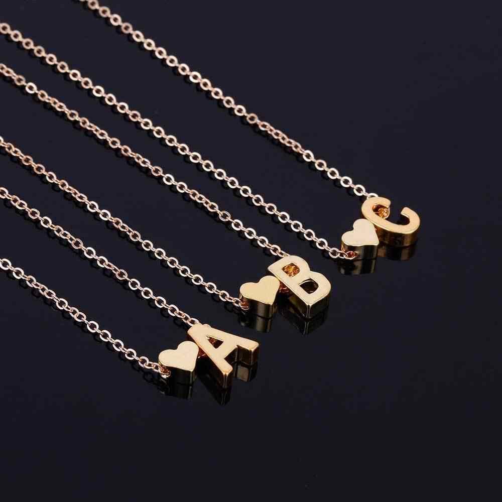 Nome Do Coração carta Trendy Minúsculo Dainty Colar para Mulheres Declaração Cadeia Pingente Colares de Ouro Gargantilha Jóias Dorp Inicial