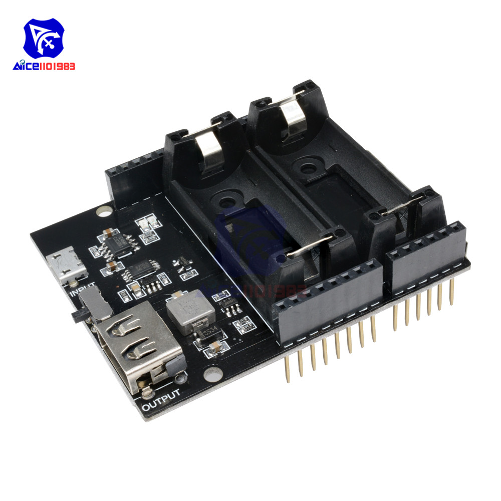 ESP8266 ESP32 Power Supply Rechargeable Dual 16340 Lithium Battery Charger Shield Module for Arduino UNO R3 Board Power Bank Воск