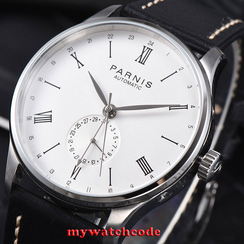 42mm Parnis white date 24 Hours Handset ST1690 Automatic Movement Men Watch 951