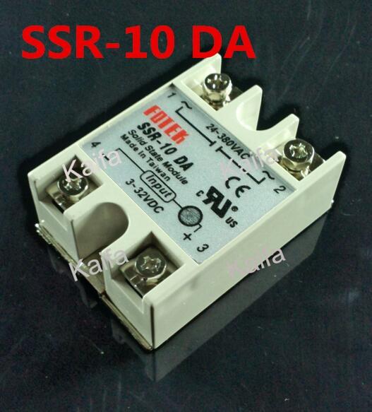 1 Piece Solid State Relay SSR DC Control AC SSR-10 DA 3-32V DC To 24-380V AC High Quality high quality ac ac 80 250v 24 380v 60a 4 screw terminal 1 phase solid state relay w heatsink