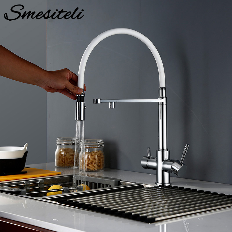 Smesiteli Kitchen Tri Flow Faucet Brass Chrome Swivel With Sprayer Hose Water Purification Function 3 Way Water Filter Tap
