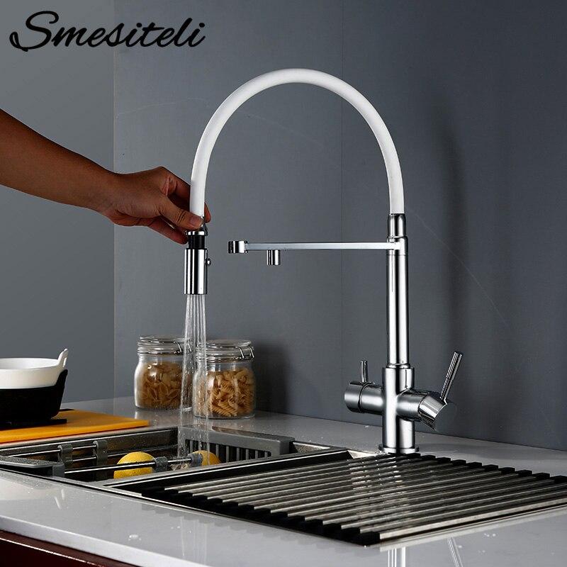Smesiteli cuisine Tri flux robinet laiton Chrome pivotant avec pulvérisateur tuyau fonction de Purification de l'eau 3 voies filtre à eau robinet