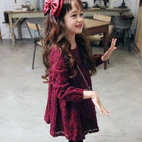 e10a77b1bb67 Wine Color Little Girl Lace Dress With Big Bow Baby Children Kids Korean Cute  Clothing Big Bow Dress For Prom Or Wedding Party-in Dresses from Mother    Kids ...
