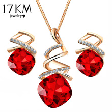 17KM Fashion Geometric Crystal Jewelry Sets For Women Resin Pendant Necklace Charm & Luxury Stud Earrings Wedding Jewelry Gifts