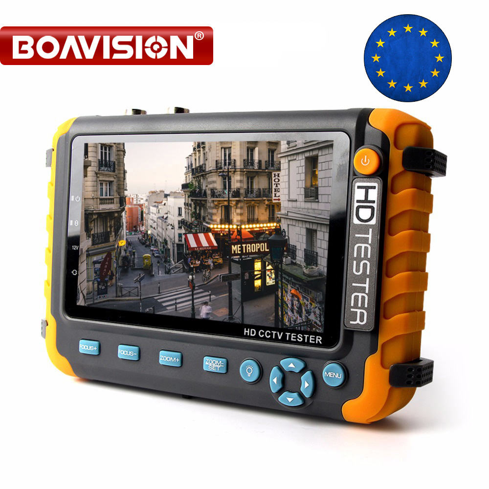 BOAVISION 5 Inch TFT LCD 1080P / 5MP 4 IN 1 TVI AHD CVI Analog CCTV Tester Security Camera Tester Monitor HDMI Input Audio Test usb led gift grip and folding 4 3 inch tft lcd monitor 1080p 2mp ahd tvi analog surveillance cctv camera tester free shipping