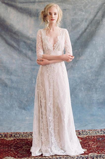 2019 Vintage mariée Boho dentelle robe pour la fête de mariage plage robes de mariée vestidos de noiva Robe de mariage robe de Mariee 2