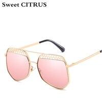 Sweet CITRUS Brand Designer 2018 Clear Mirror Lens Sunglasses Women Hexagon Metal Hollow Out Vintage Sun