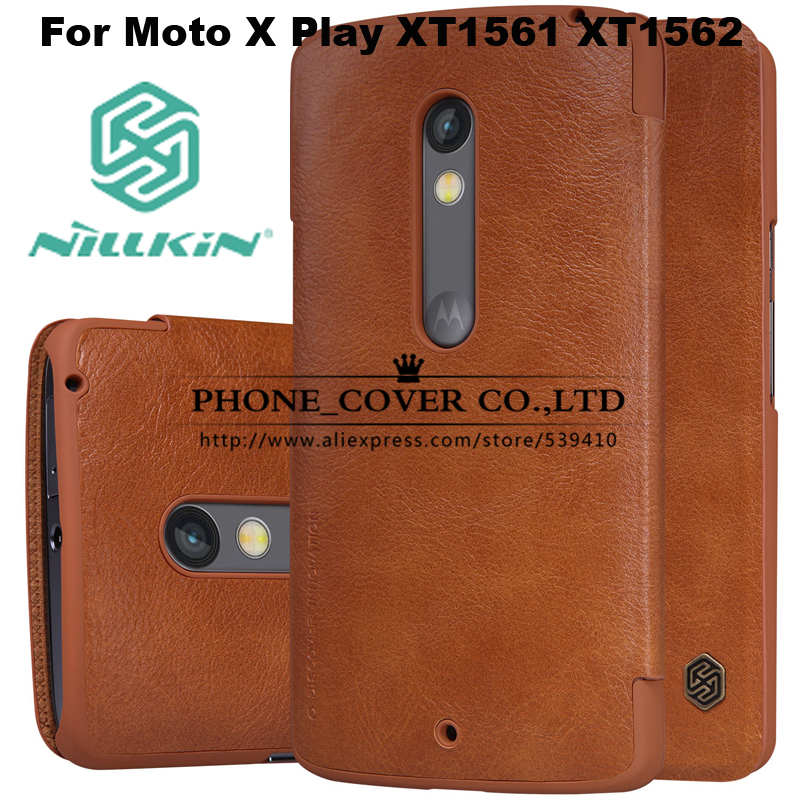 Nillkin Genuine Wallet Leather Case Cover For Motorola Moto X Play XT1561 XT1562 5.5 funda cases + HD / Glass screen protectors