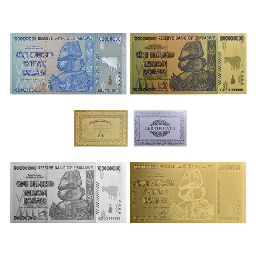 Wr Original Gold Banknotes 100 Trillion Dollars Zimbabwe Bar Replica Coins Fake Money Dollar Copy Collectibles