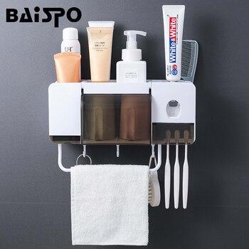 BAISPO de montaje en pared a prueba de polvo cepillo de dientes titular con  tazas automática exprimidor de pasta de cuarto de baño accesorios 393ea0fedf9c